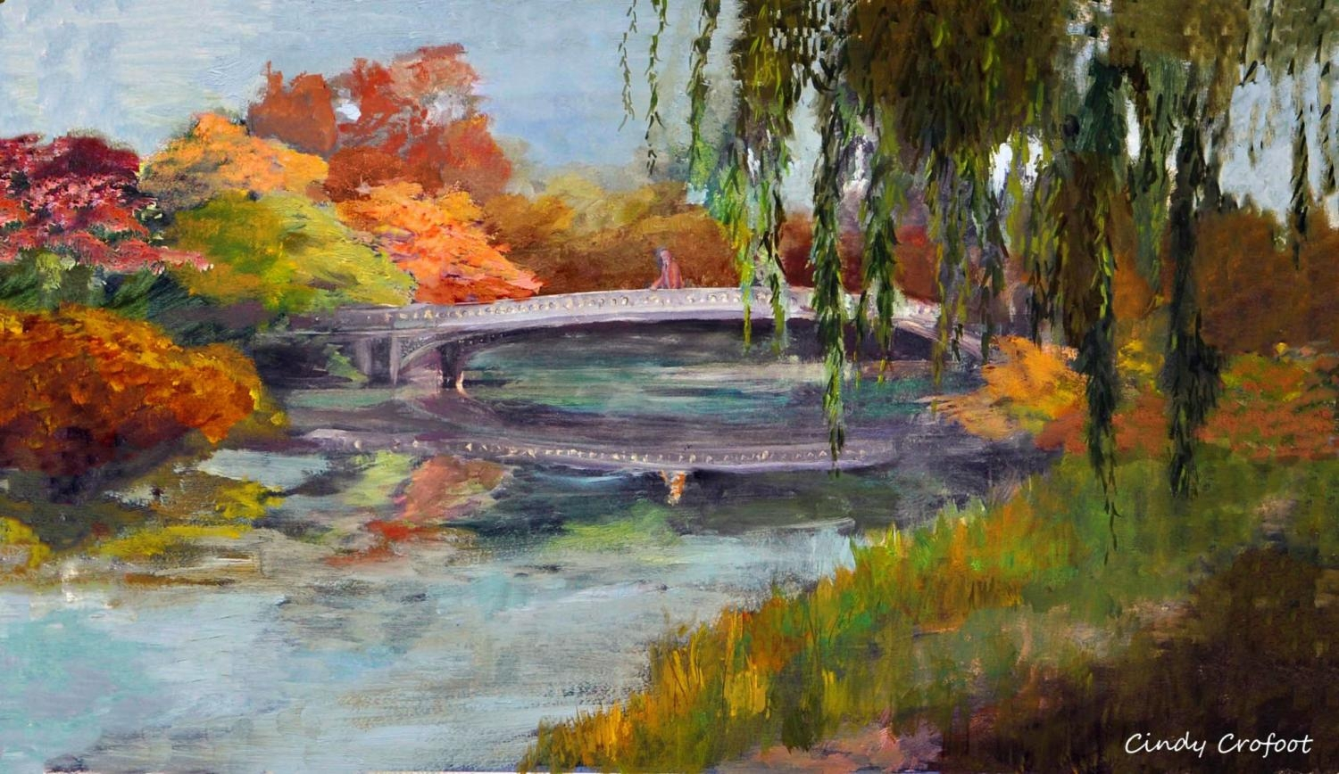 """Central Park's Bow Bridge in Autumn 1894"" by Cindy Crofoot"