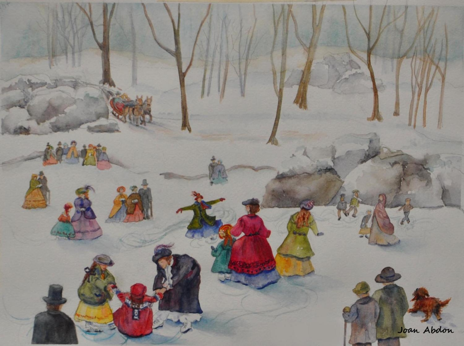 """Ice Skaters in Central Park, 1862"" by Joan Abdon"