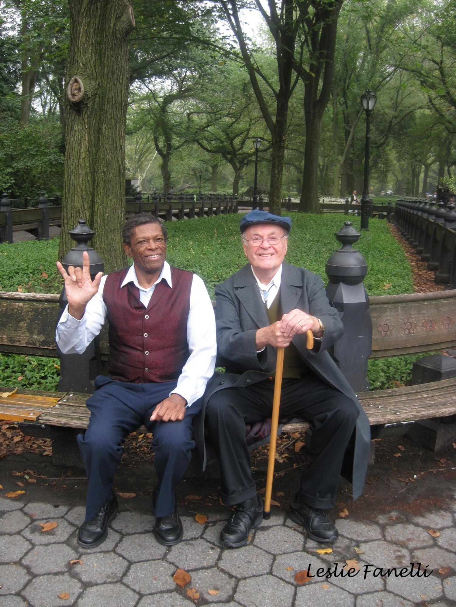 "Cast members, left to right, Gerald Small (ASL) and William Dembaugh as ""Olmsted"""